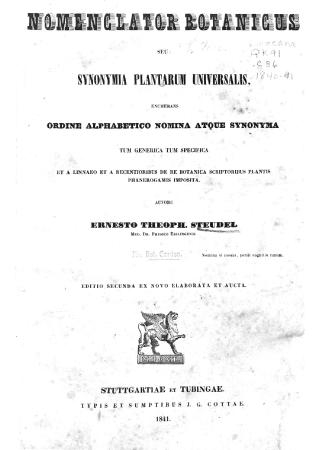 Nomenclator botanicus, seu, Synonymia plantarum universalis