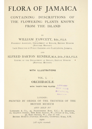 Flora of Jamaica, containing descriptions of the flowering plants known from the island