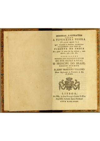 Memorias, e extractos sobre a pipereira negra (Piper nigrum L.)
